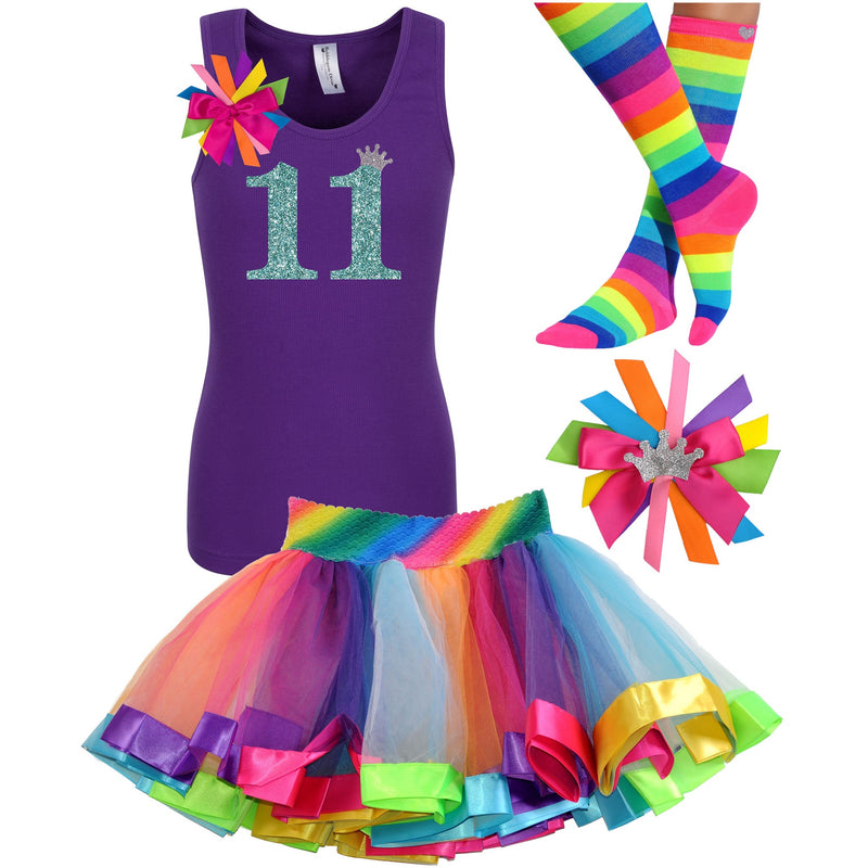 11th Birthday Shirt Girls Rainbow Tutu Outfit Eleven Shirt - Outfit - Bubblegum Divas Store