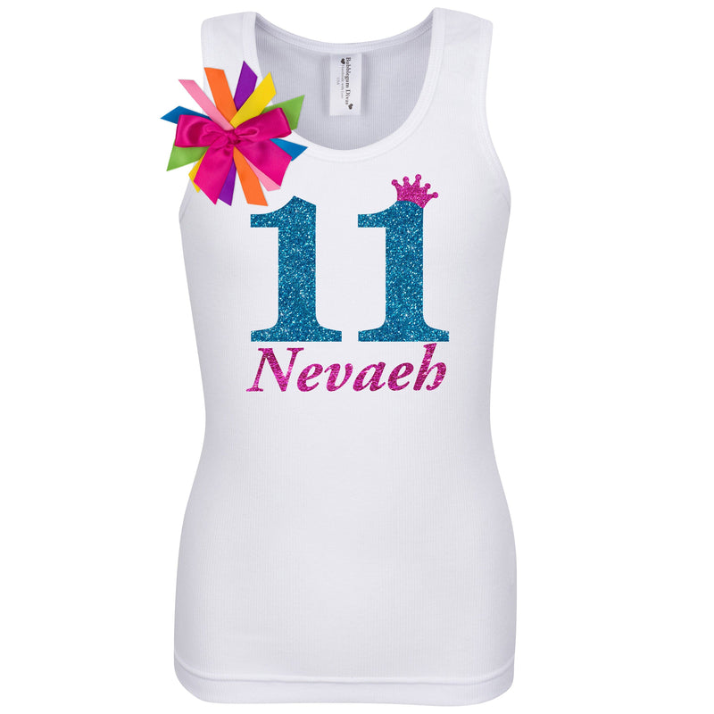 11th Birthday Shirt - Blue Cherry Twist - Shirt - Bubblegum Divas Store