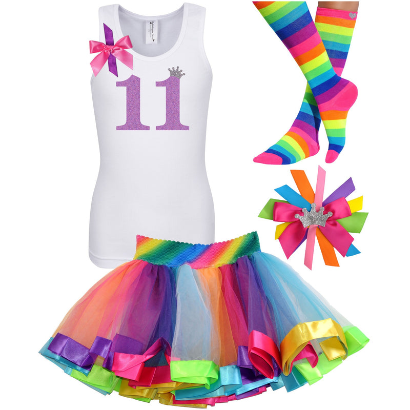 11th Birthday Shirt Lavender Glitter Girls Rainbow Tutu Party Outfit 4PC Set - Outfit - Bubblegum Divas Store