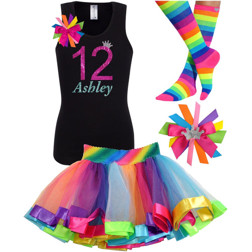 12th Birthday Shirt Hot Pink Glitter Girls Rainbow Tutu Party Outfit 4PC Set - Outfit - Bubblegum Divas Store