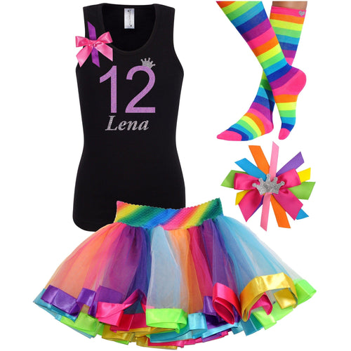 12th Birthday Shirt Lavender Glitter Girls Rainbow Tutu Party Outfit 4PC Set