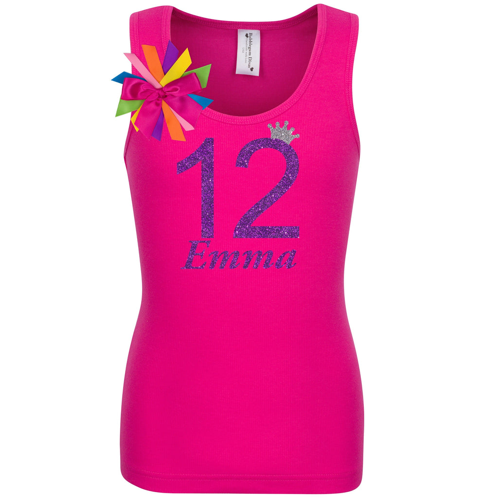 12th Birthday Shirt - Girls Shirt - Pink - Bubblegum Divas Store