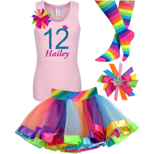 12th Birthday Shirt Blue Glitter Girls Rainbow Tutu Party Outfit 4PC Set - Outfit - Bubblegum Divas Store