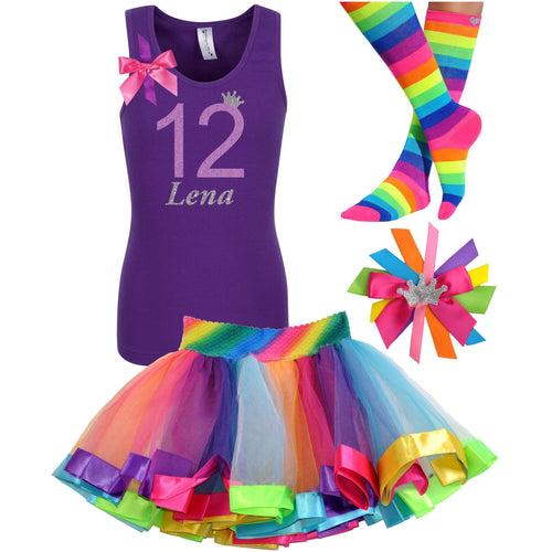 12th Birthday Shirt Lavender Glitter Girls Rainbow Tutu Party Outfit 4PC Set - Outfit - Bubblegum Divas Store