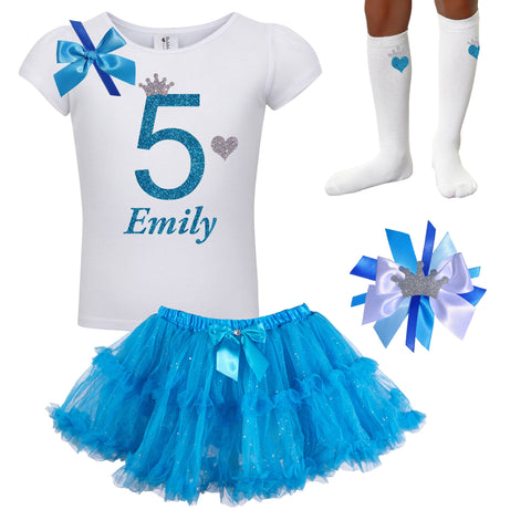 5th Birthday Outfit - Blue Cherry Twist