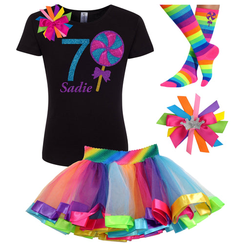 7th Birthday Lollipop Shirt Girls Rainbow Tutu Party Outfit 4PC Set