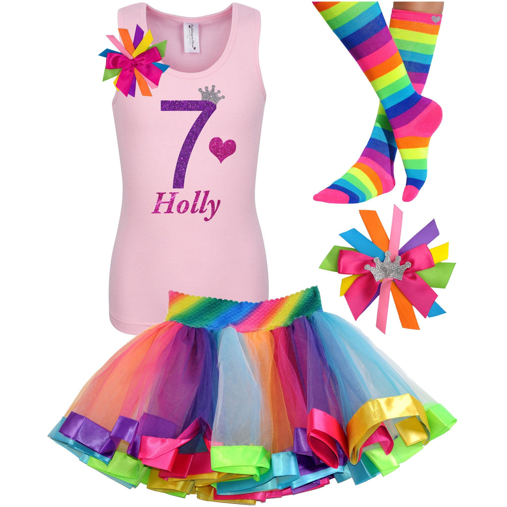 7th Birthday Outfit - Purple Bubble Sparkle - Outfit - Bubblegum Divas Store
