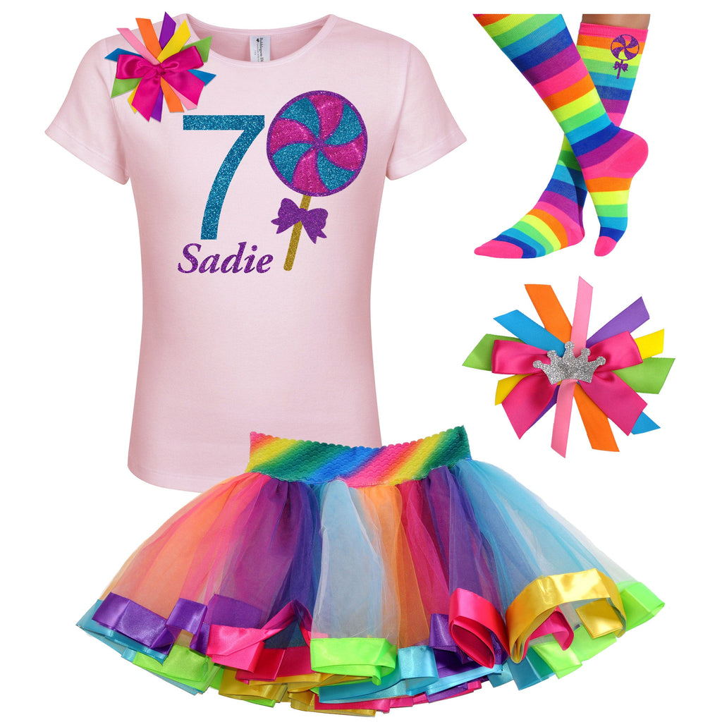 7th Birthday Outfit - Blueberry Swirl Lollipop - Outfit - Bubblegum Divas Store