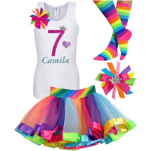 7th Birthday Shirt Rainbow Tutu Girls Party Outfit 4PC Set