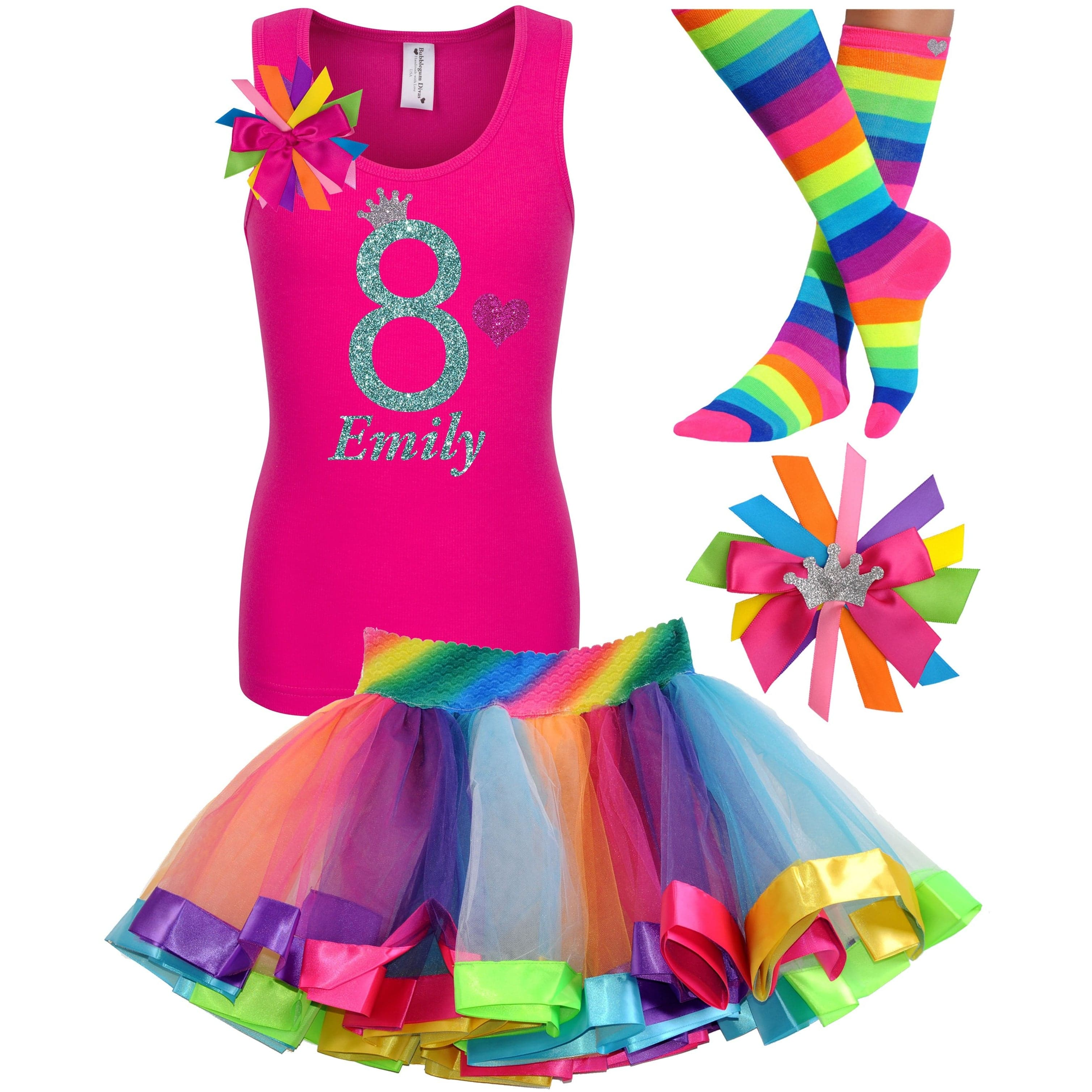 8th Birthday Shirt Rainbow Tutu Girls Party Outfit 4PC Set