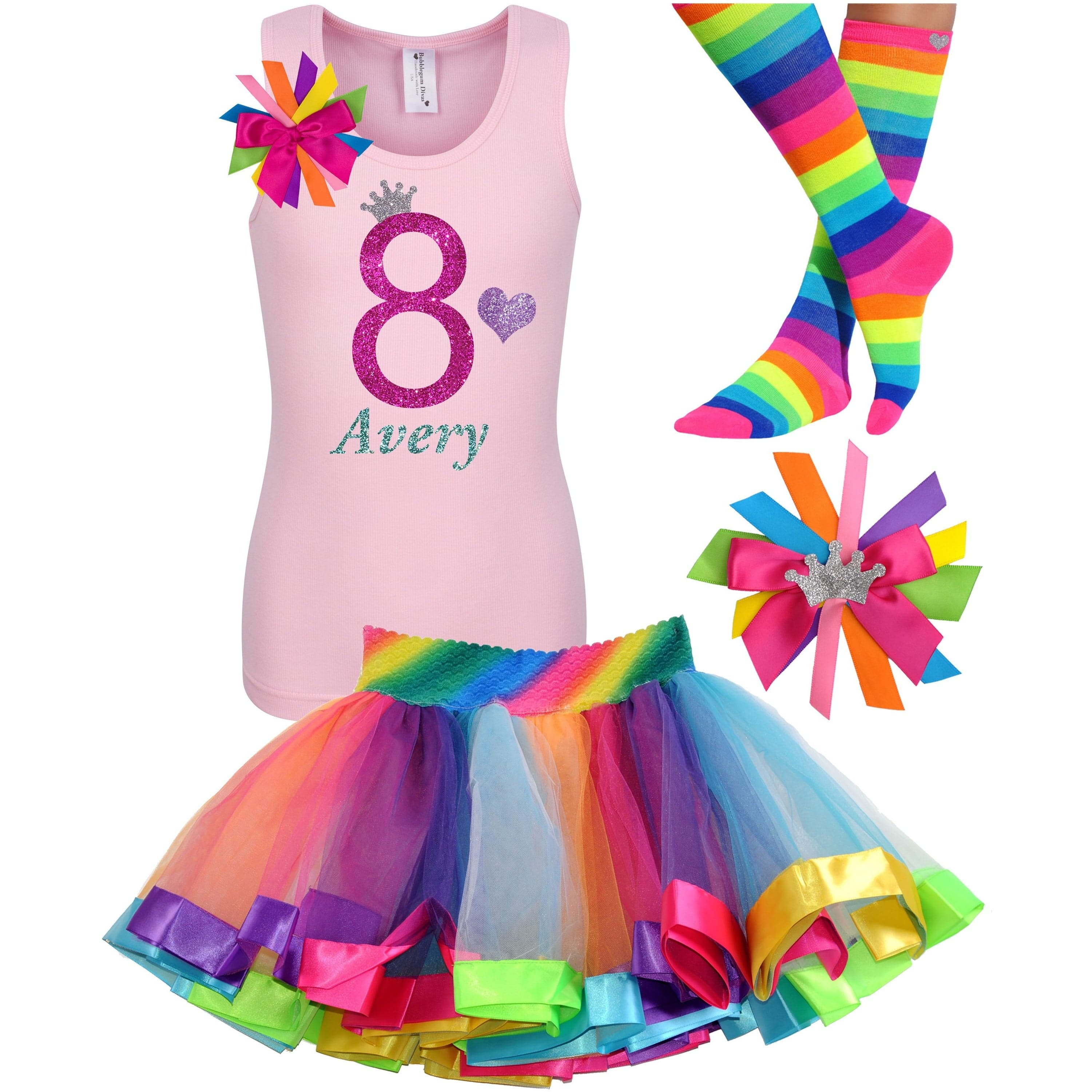 8th Birthday Shirt Rainbow Tutu Girls Party Outfit 4PC Set - Outfit - Bubblegum Divas Store