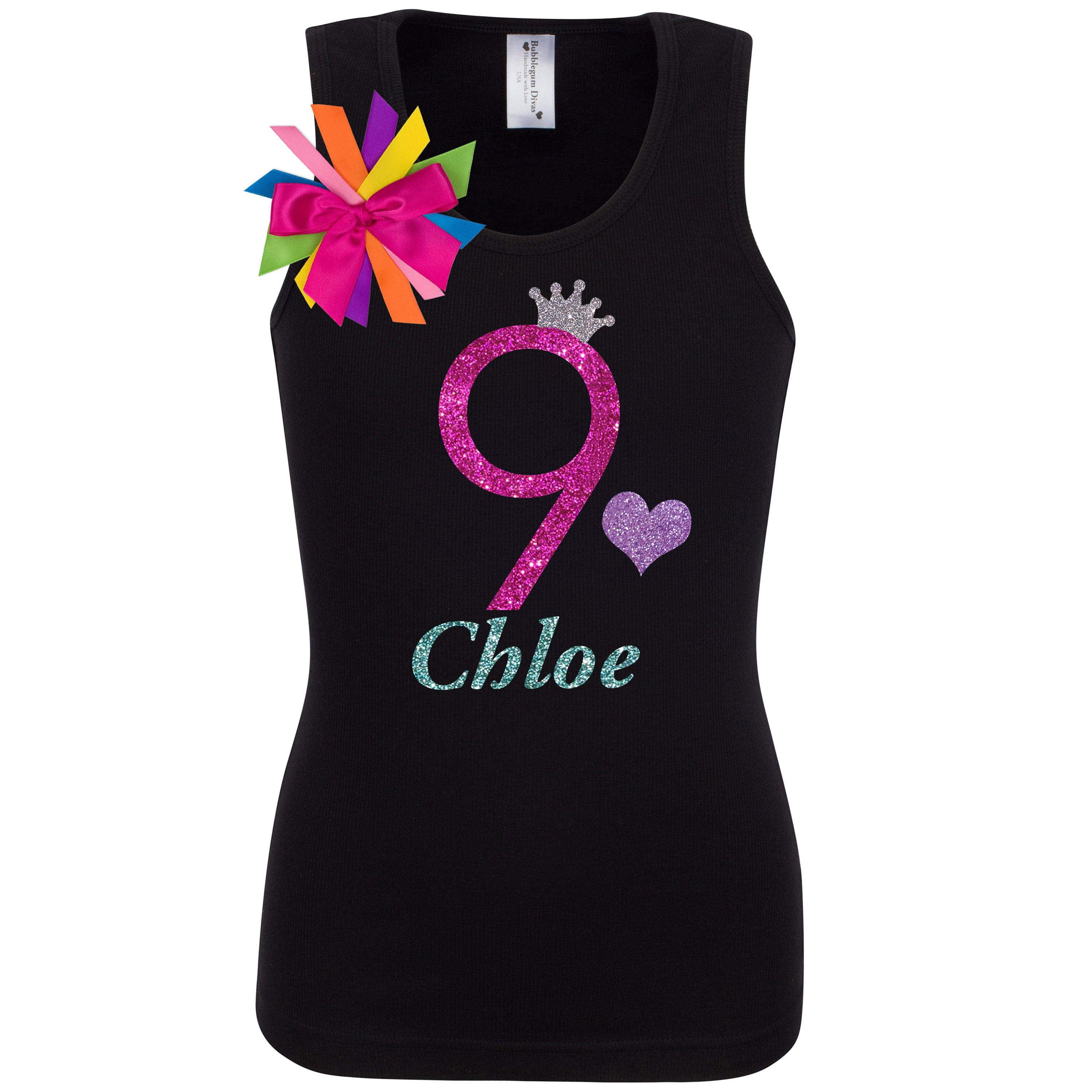 9th Birthday Girl Shirt Hot Pink Glitter Nine Personalized 9