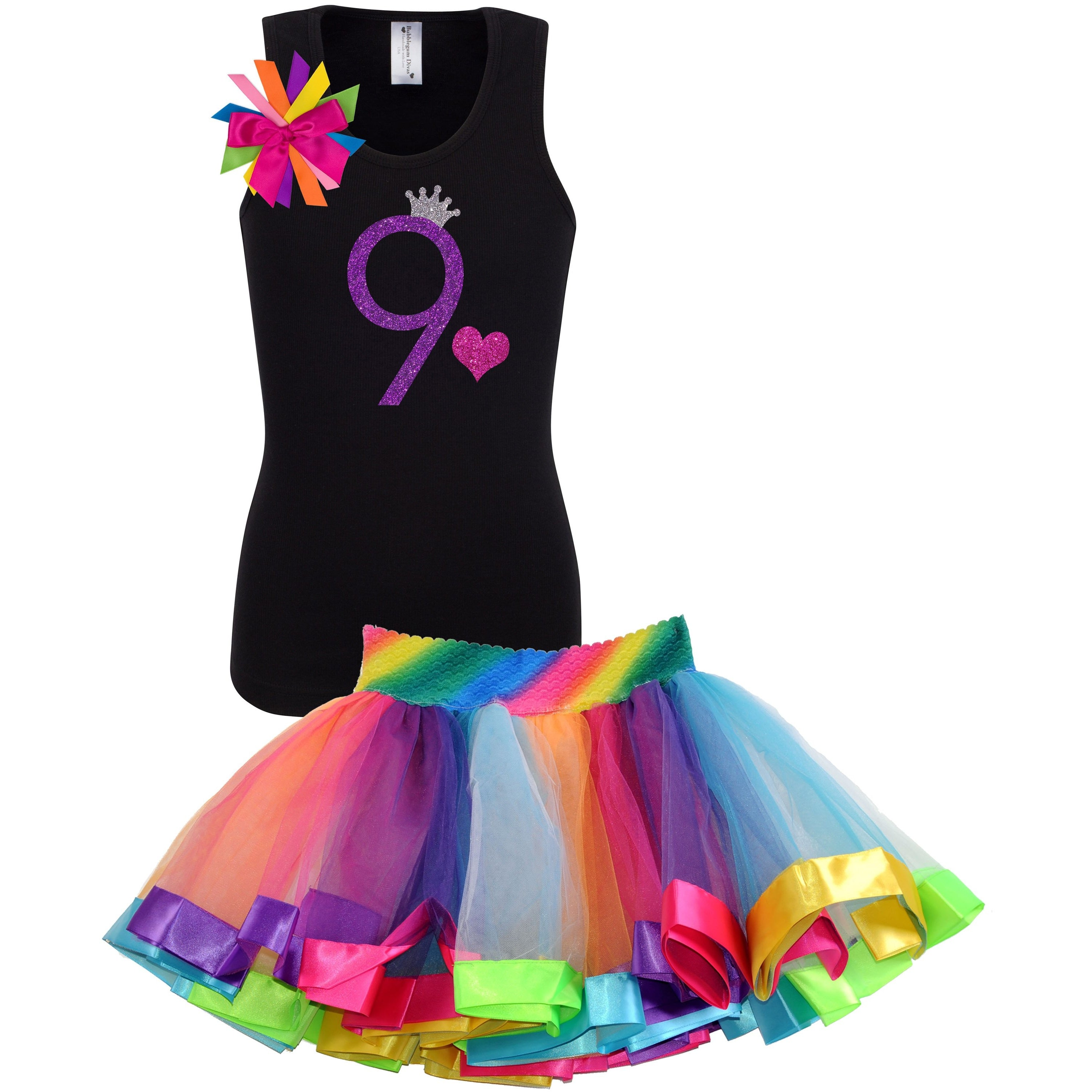 9th Birthday Shirt Purple Glitter Girls Rainbow Tutu Party Outfit 2PC Set