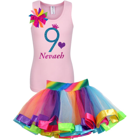 9th Birthday Shirt Hot Pink Glitter Girls Rainbow Tutu Party Outfit 2PC Set