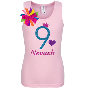 9th Birthday Shirt - Blue Cherry Twist - 9th Birthday - Bubblegum Divas Store