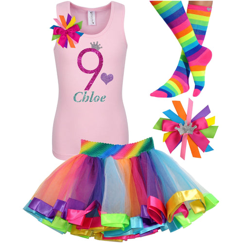 9th Birthday Shirt Hot Pink Glitter Girls Rainbow Tutu Party Outfit 4PC Set - Outfit - Bubblegum Divas Store