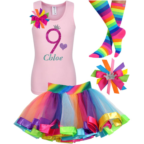 10th Birthday Shirt Blue Glitter Girls Rainbow Tutu Party Outfit 4PC Set