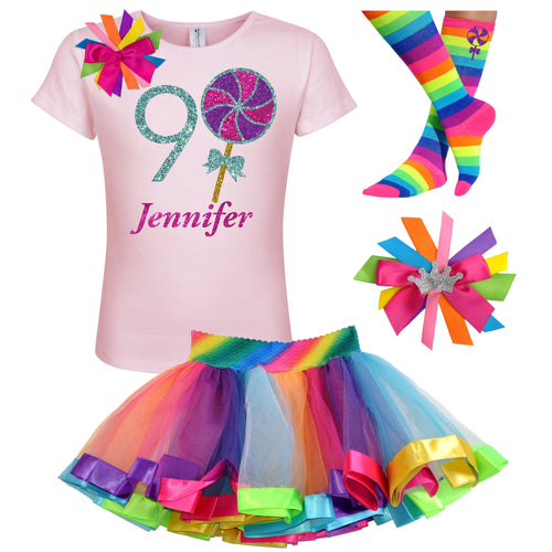9th Birthday Lollipop Shirt Girls Rainbow Tutu Party Outfit 4PC Set - Outfit - Bubblegum Divas Store