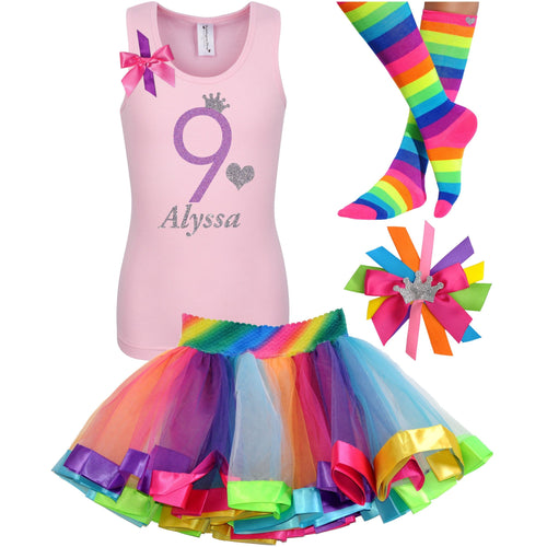 9th Birthday Shirt Lavender Glitter Girls Rainbow Tutu Party Outfit 4PC Set - Outfit - Bubblegum Divas Store