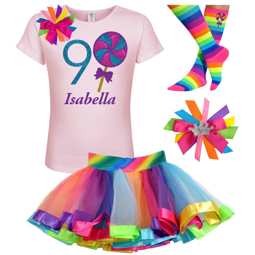 9th Birthday Lollipop Shirt Girls Rainbow Tutu Party Outfit 4PC Set