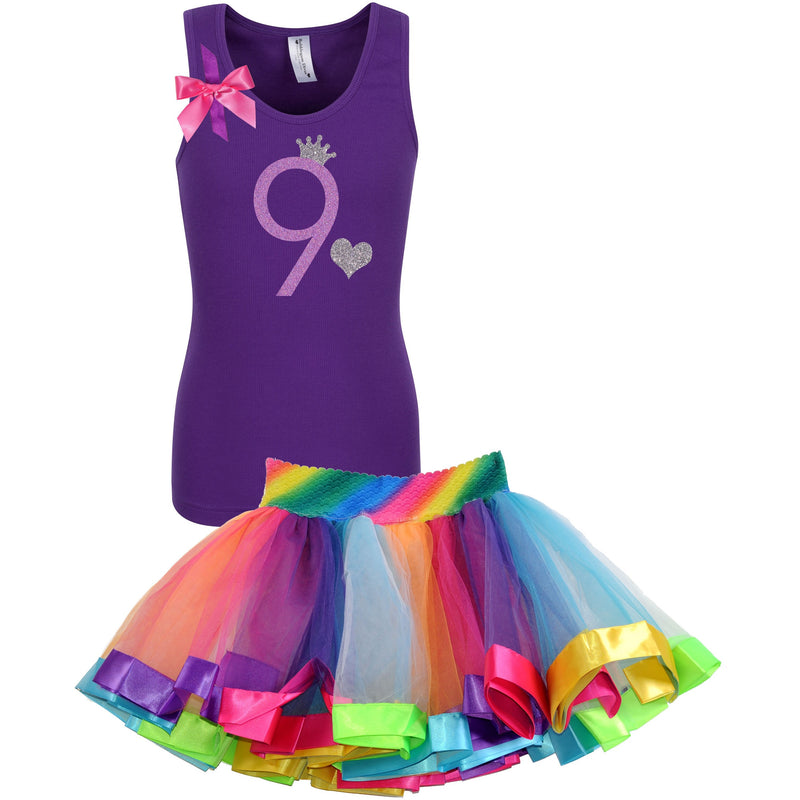 9th Birthday Shirt Lavender Glitter Girls Rainbow Tutu Party Outfit 2PC Set - Set - Bubblegum Divas Store