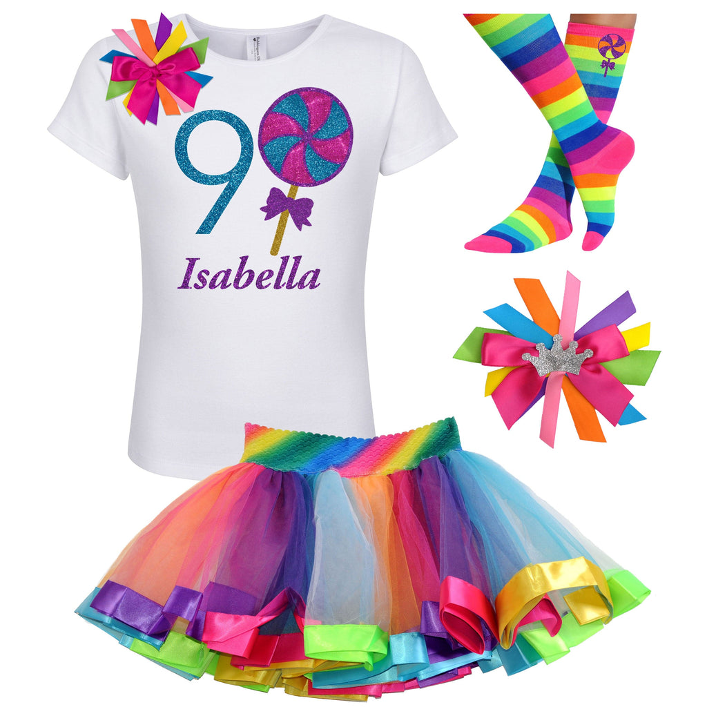Lollipop Blueberry Swirl 9th Birthday - Lollipop Birthday Outfit Kids Teens Girls - Bubblegum Divas Store
