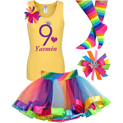 9th Birthday Shirt Purple Glitter Girls Rainbow Tutu Party Outfit 4PC Set - Outfit - Bubblegum Divas Store