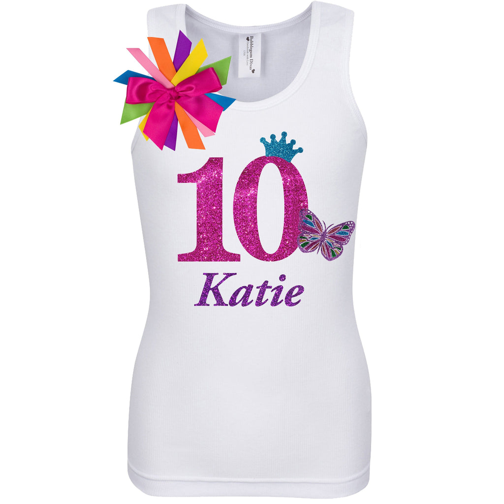 10th Birthday Girl Shirt Rainbow Butterfly Outfit - 10th Birthday Shirt - Bubblegum Divas Store