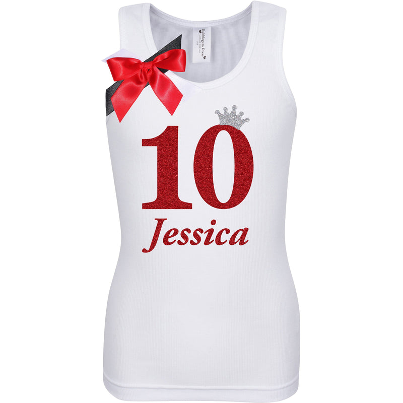 10th Birthday Shirt - Red Cherry Dazzle - 10th Birthday Shirt - Bubblegum Divas Store