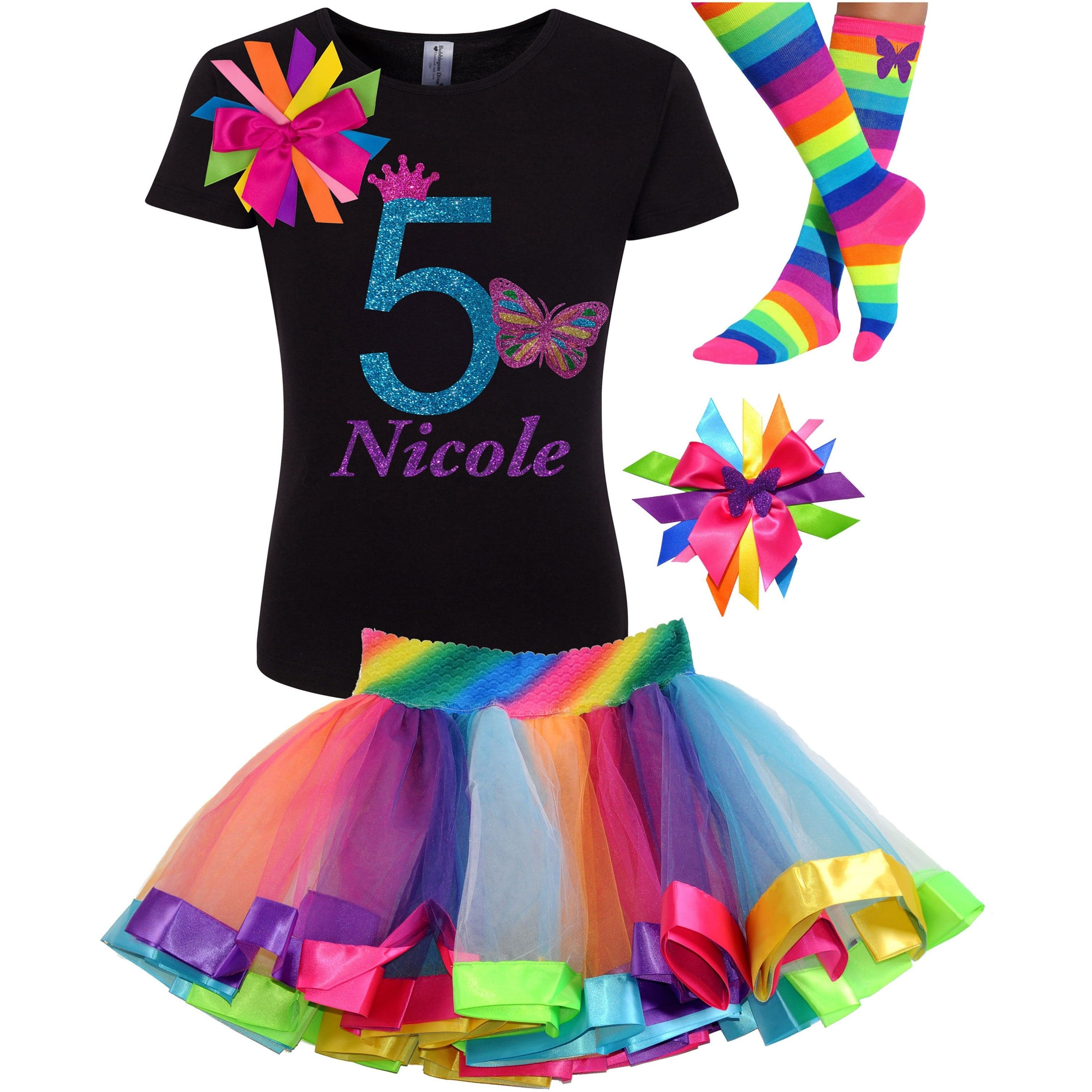 Butterfly 5 Birthday Shirt Rainbow Tutu Girls Party Outfit 4PC Set - Outfit - Bubblegum Divas Store