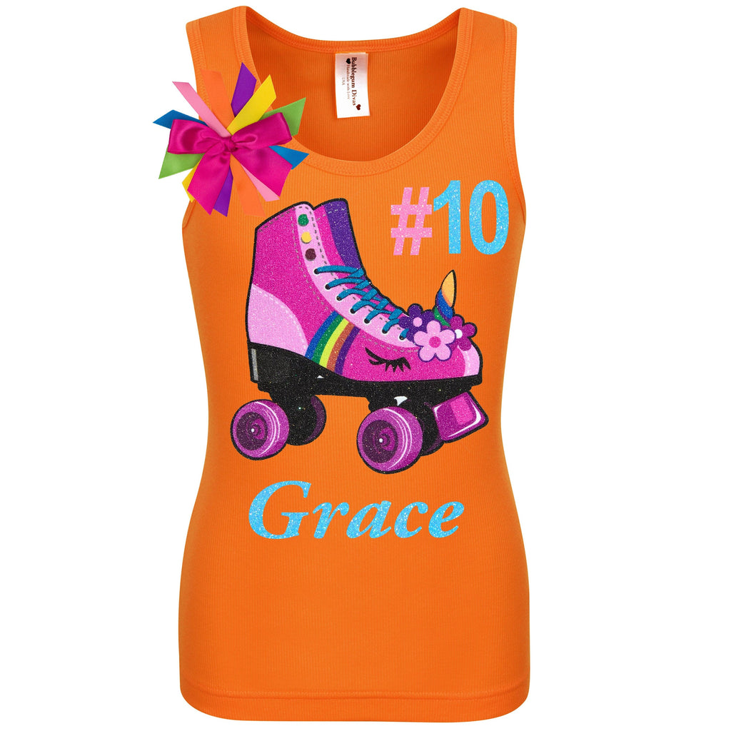 Orange tank top shirt with personalized name number 10 pink unicorn roller skate and birthday girl ribbons attached to shirt
