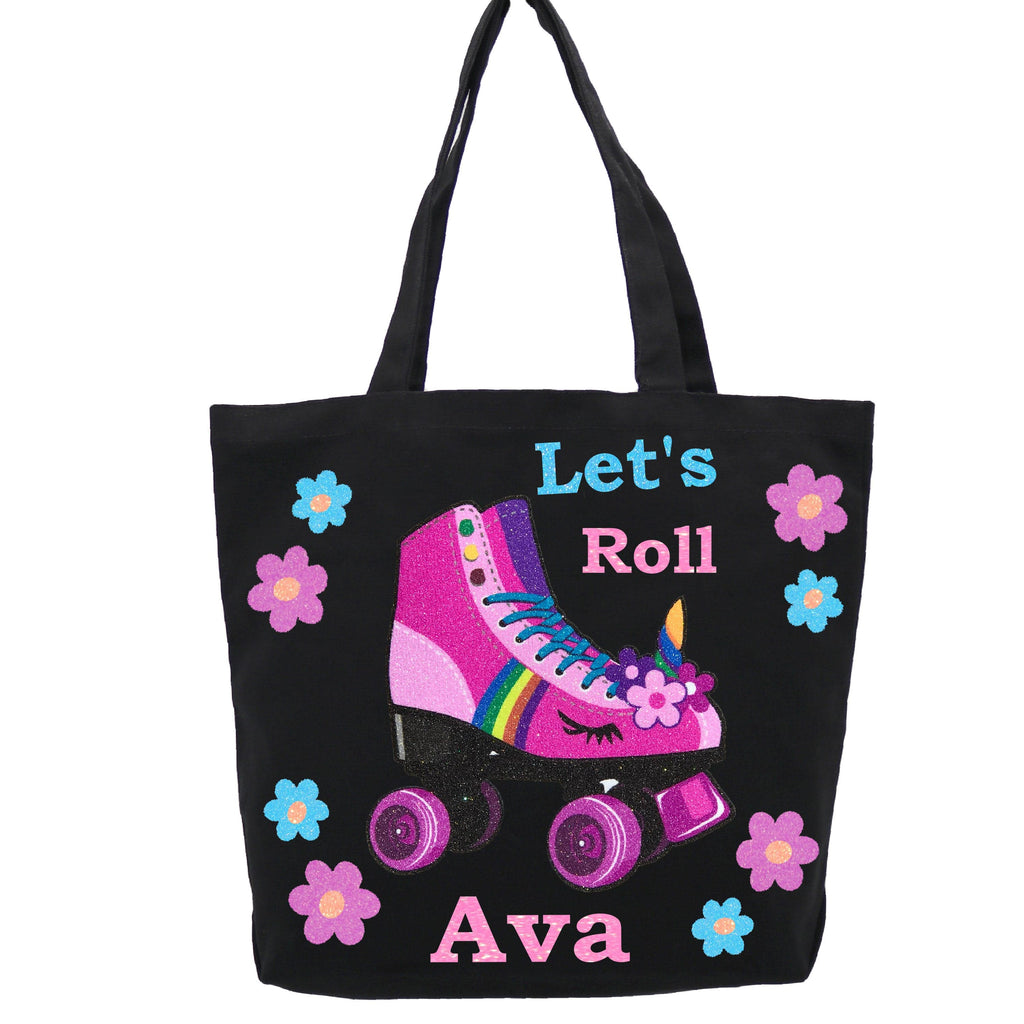 Pink Tote bag with pink roller skate and flowers