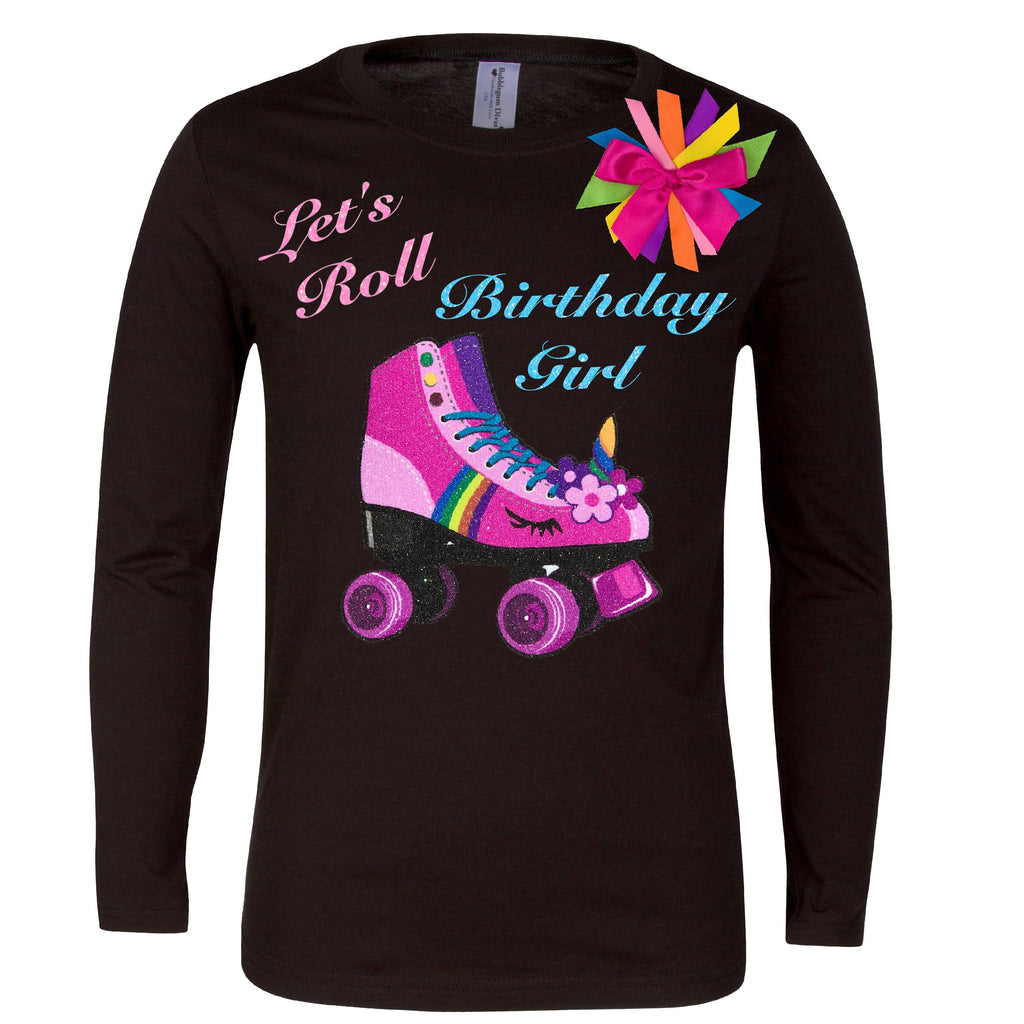 Long Sleeve black shirt with  pink unicorn roller derby roller skate with the words Let's Roll birthday girl