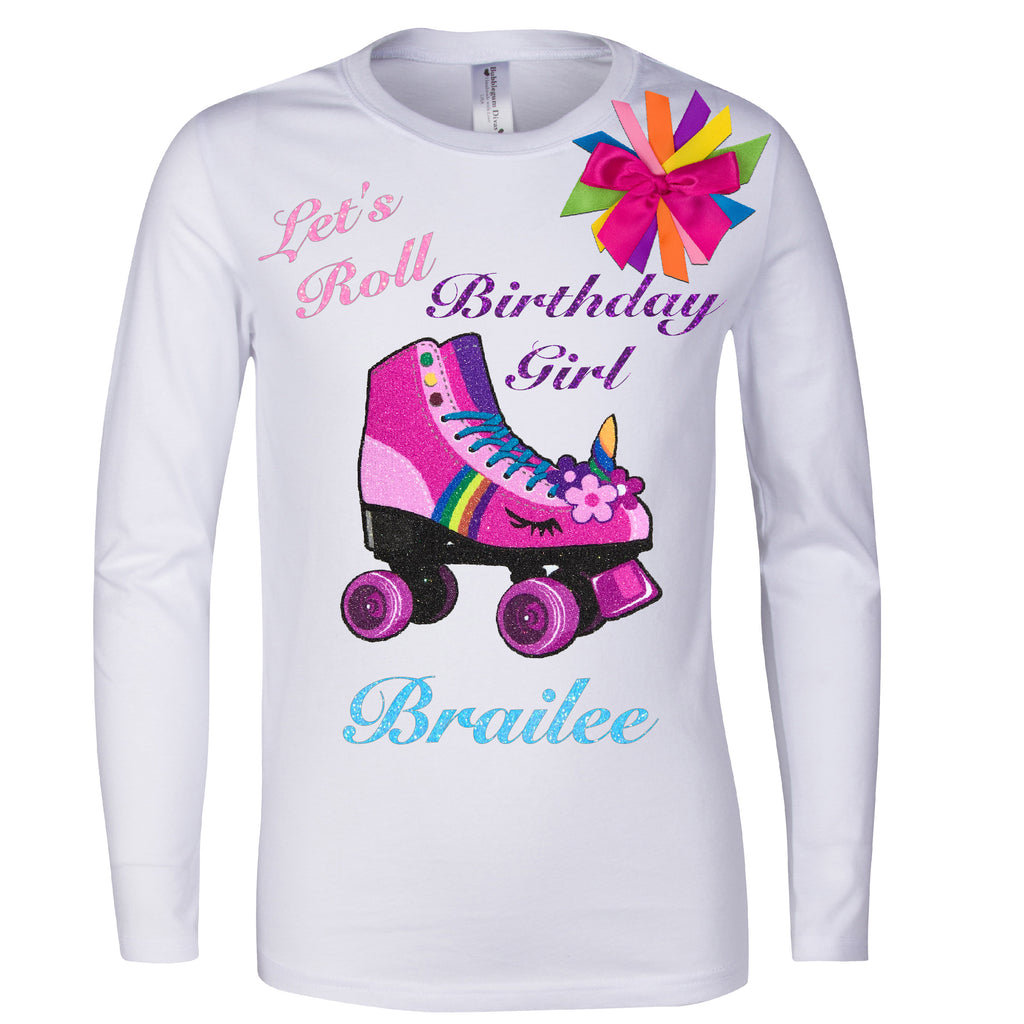 Long Sleeve white shirt with personalized name pink unicorn roller derby roller skate with the words Let's Roll birthday girl