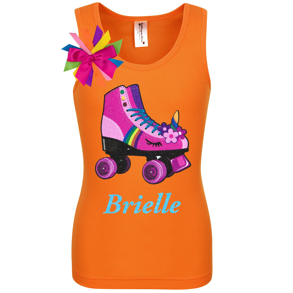 Orange tank top shirt with personalized name, pink unicorn roller skate and birthday girl ribbons attached to shirt