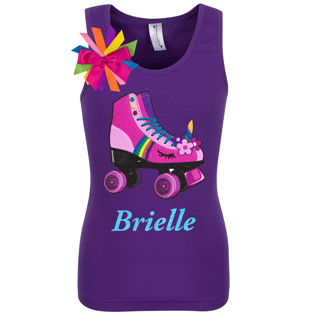 Purple tank top shirt with personalized name, pink unicorn roller skate and birthday girl ribbons attached to shirt