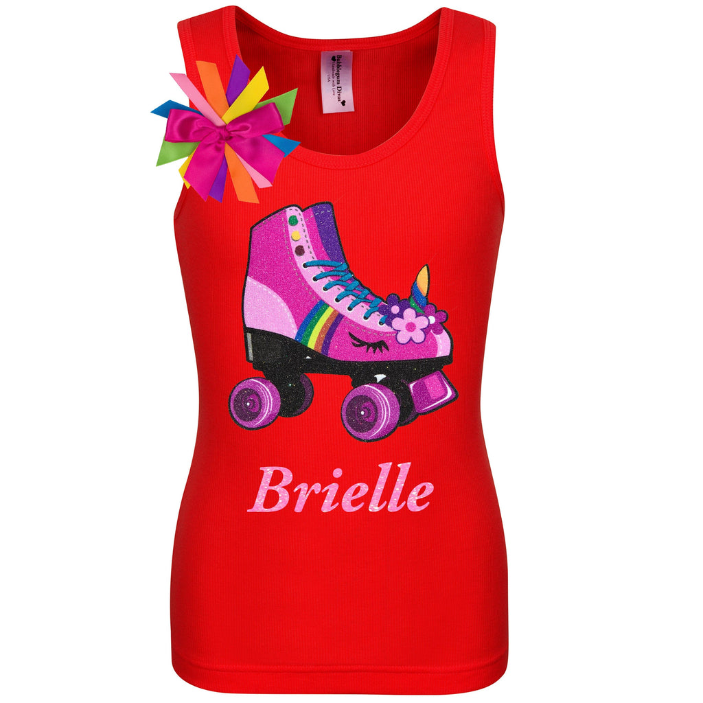 Red tank top shirt with personalized name, pink unicorn roller skate and birthday girl ribbons attached to shirt