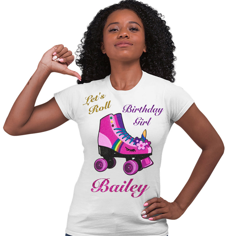 African American girl wearing a white personalized pink unicorn roller derby roller skate with the words Let's Roll birthday girl