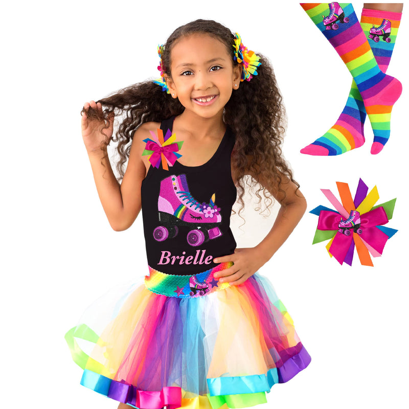 Girl wearing black tank top shirt with personalized name and pink unicorn roller skate, Rainbow tutu skirt with stars and roller skate, rainbow knee socks with roller skates, and birthday roller skate hair bow