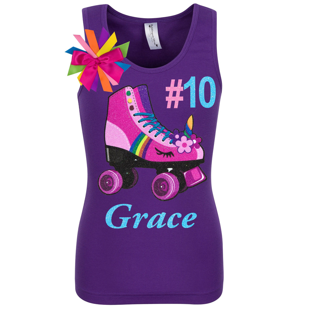Purple tank top shirt with personalized name, pink unicorn roller skate number 10 and birthday girl ribbons attached to shirt