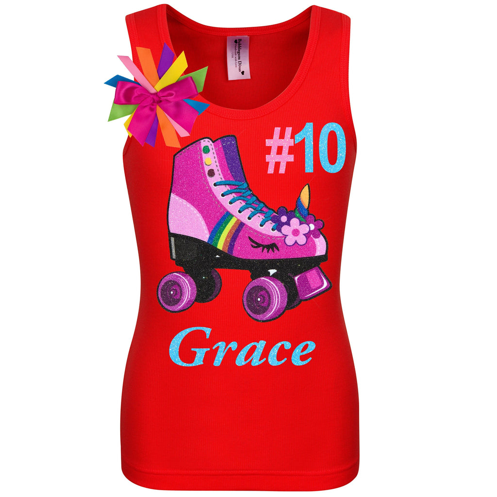 Red tank top shirt with personalized name, pink unicorn roller skate number 10 and birthday girl ribbons attached to shirt
