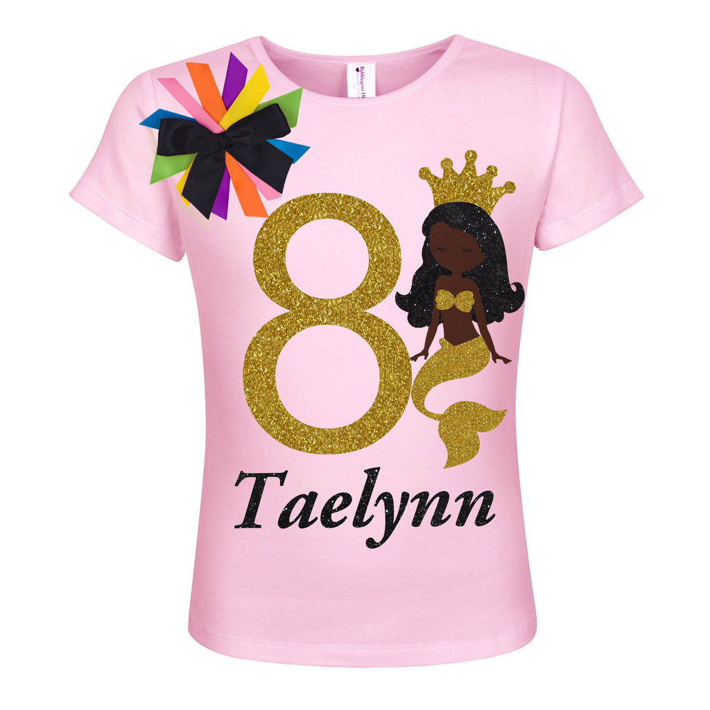 8th Birthday Black Mermaid Girl Shirt - Shirt - Bubblegum Divas Store