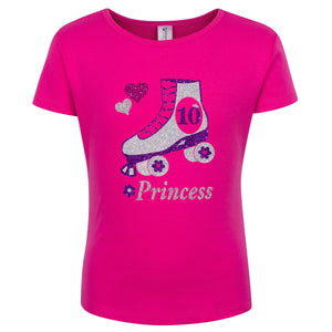 Girls Roller Skate Birthday Party T SHIRT Personalized skating Rainbow 13th 14th