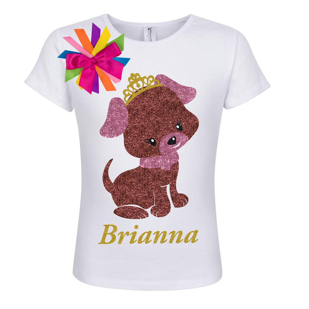 Brown Puppy Dog Shirt - Tiara - Shirt - Bubblegum Divas Store