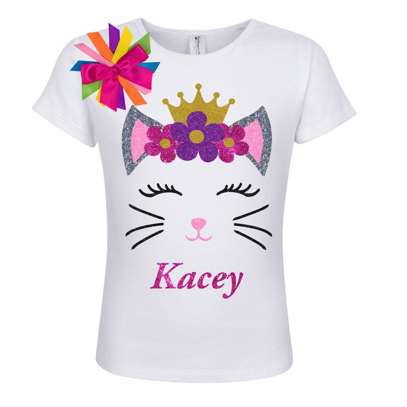 Princess Kitty Cat Shirt - Purple Flowers - Shirt - Bubblegum Divas Store