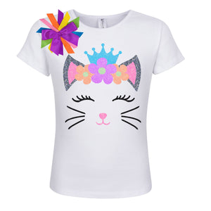 Princess Kitty Cat Shirt - Neon Flowers - Shirt - Bubblegum Divas Store