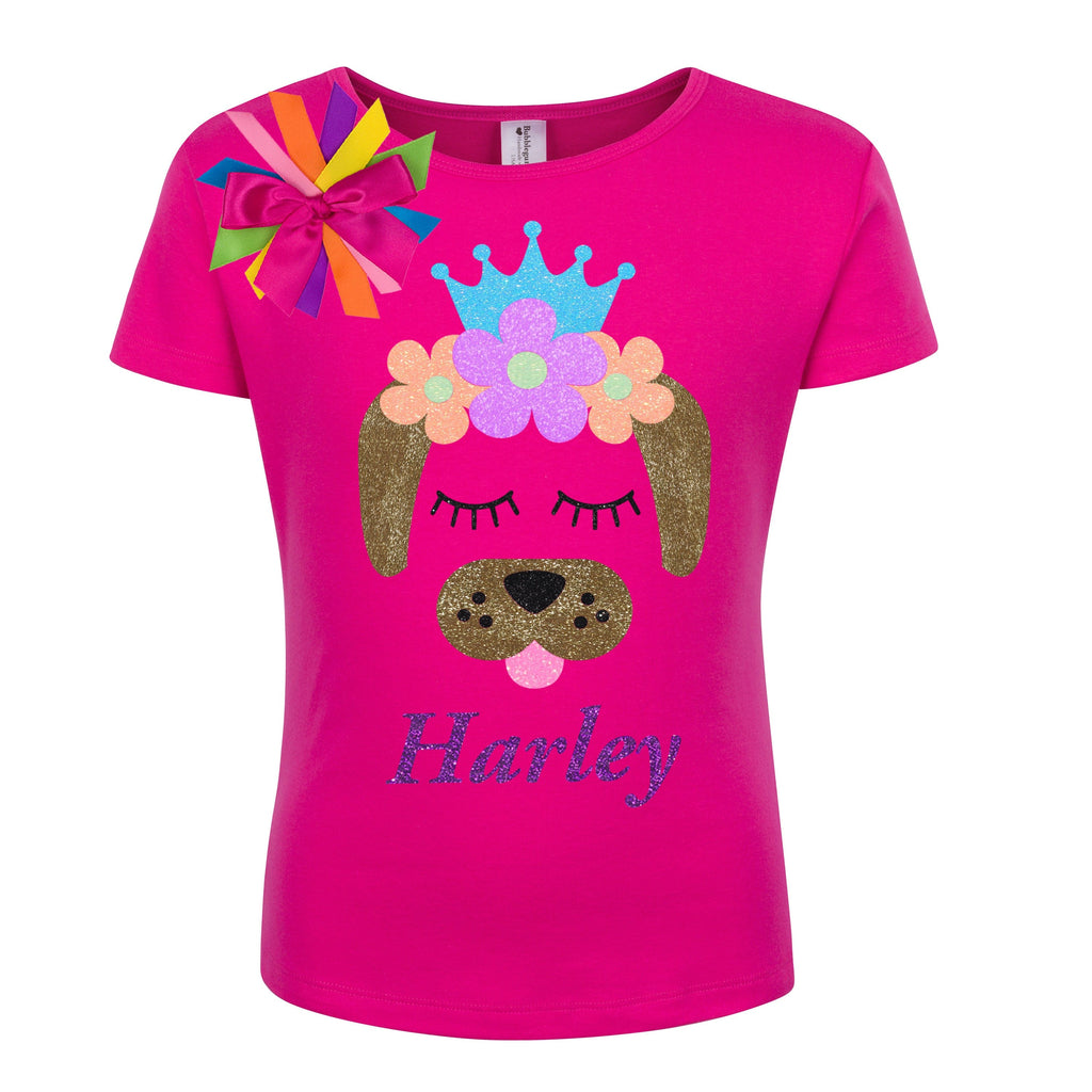 Puppy Dog Shirt - Neon Flowers