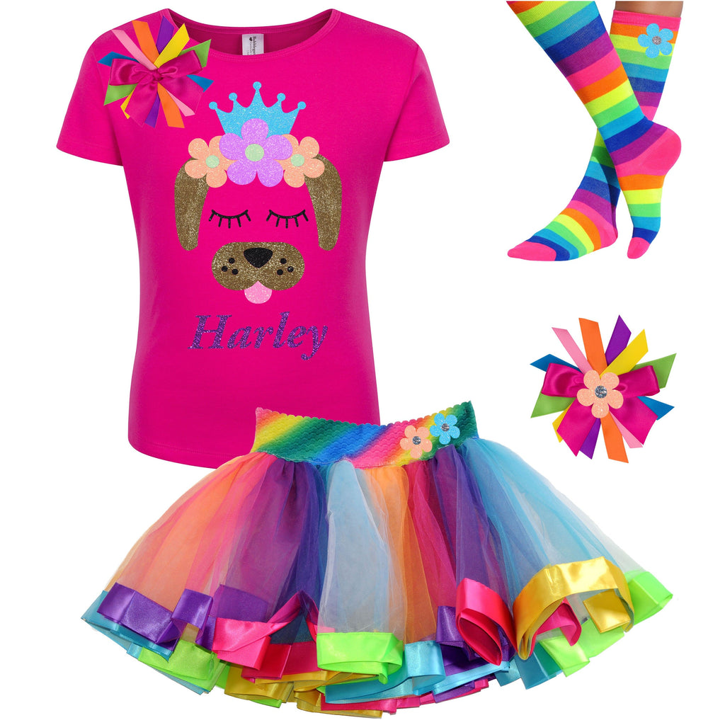 Brown Puppy Dog Outfit - Neon Flowers