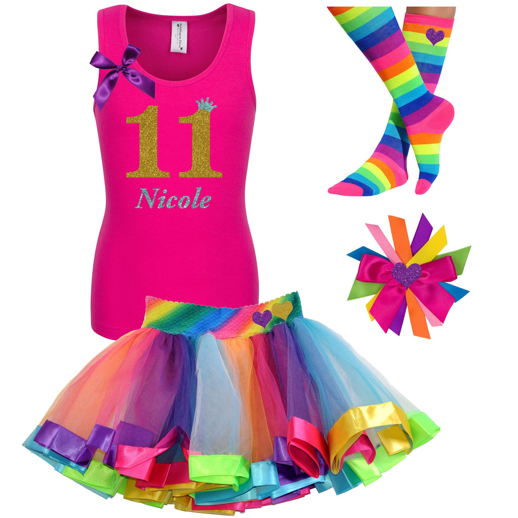 11th Birthday Girl - Pink Shirt Rainbow Tutu Outfit - Bubblegum Divas Store