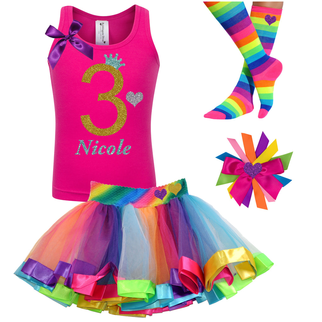 3rd Birthday Outfit - Gold Sparkle Diva - Outfit - Bubblegum Divas Store